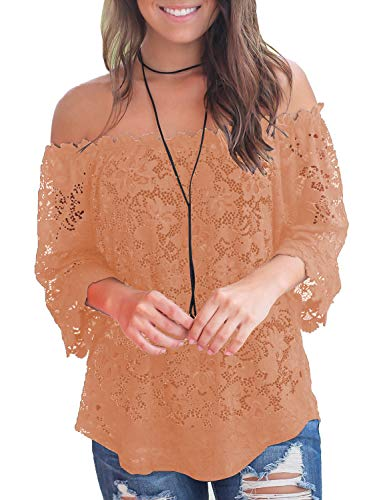 (MIHOLL Women's Lace Off Shoulder Tops Casual Loose Blouse Shirts (Khaki, Large))