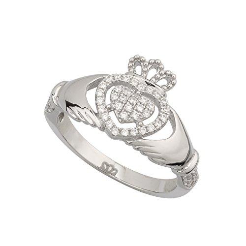 Solvar S/S Cz Claddagh Ring, Size 10