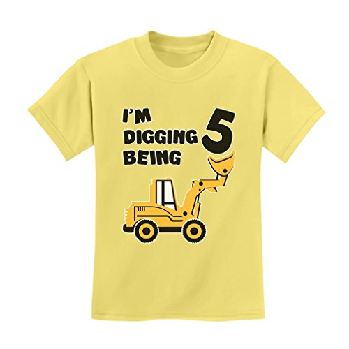 Birthday Yellow T-shirt (TeeStars 5 Years Old Gift 5th Birthday Bulldozer Construction Party Toddler Kids T-Shirt Small Yellow Haze)