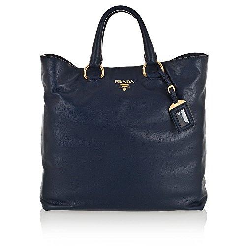 Prada Soft Calf Leather Shopping Tote Bag BN1713, Blue (Prada Soft Handbag)