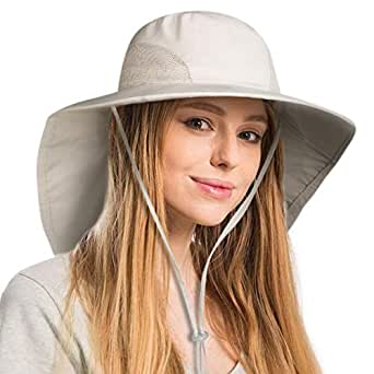 FURTALK Safari Sun Hats for Women Wide Brim Neck Flap Ponytail UPF Outdoor Fishing Hiking Hat - Beige - One Size
