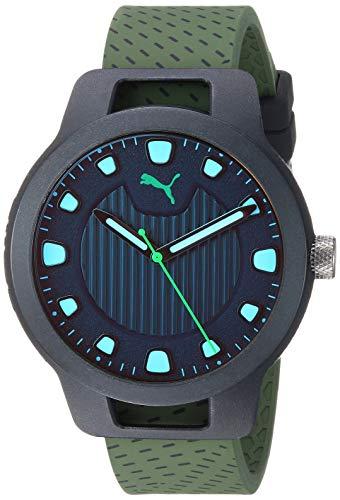 PUMA Men's Reset V1 Quartz Watch with Silicone Strap, Green, 20 (Model: P5011) (Watches Puma Man)