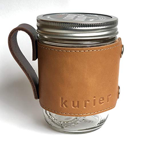 Kurier brown/tan removable full grain leather Camp Mug/glass mason ball canning jar mug travel coffee cup with handle handmade in USA 16 oz. glass jar included. Great gift for Dad!