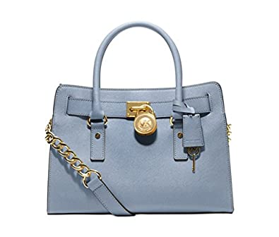 89acbc3b98f6 Michael Kors Hamilton Saffiano Leather E W Satchel Pale Blue  Amazon.co.uk   Shoes   Bags