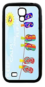 Rikki KnightTM Keep Calm and Flip-Flop Design Samsung? Galaxy S4 Case Cover (Black Hard Rubber TPU with Bumper Protection) for Samsung Galaxy S4 i9500 by mcsharks