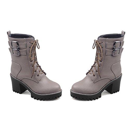 Niedriger Winter Shoes Zehe Schließen PU Rund AgeeMi Schnüren Stiefel Grau Damen x4SqFw001