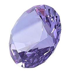 Light Purple Diamond Shaped Glass Crystal Paperweight