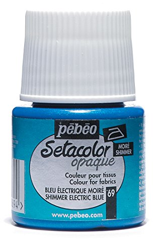 PEBEO Setacolor Opaque Fabric Paint 45-Milliliter Bottle, Shimmer Electric Blue