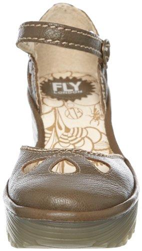 Fly London Yuna - Zapatos de cuña con correa en el tobillo para mujer Verde (Khaki Mousse)