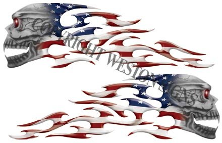 American Flag Motorcycle Gas Tank Tribal Skull Flames ()
