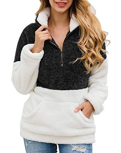 BTFBM Women Long Sleeve Zipper Sherpa Sweatshirt Soft Fleece Pullover Outwear Coat with Pockets (Black, Large)
