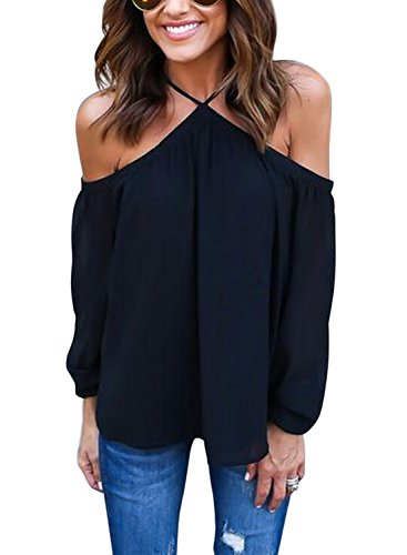 WLLW Women Chiffon Off Shoulder Long Sleeve Halter Neck Shirt Blouse Top