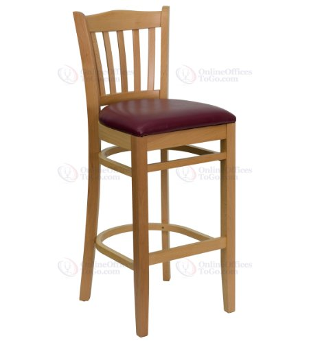 HERCULES Series Natural Wood Finished Vertical Slat Back Wooden Restaurant Bar Stool with Burgundy Vinyl Seat