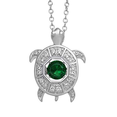 Jewelili Sterling Silver Green Quartz with Created White Sapphire Turtle Pendant Necklace, 18