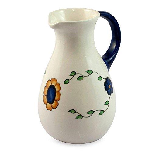 NOVICA Floral Ceramic Jug, Blue, 21 oz, (Novica Ceramic Pitcher)