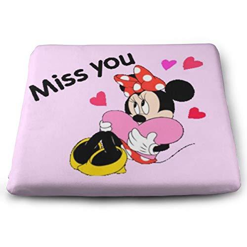 (YZMQQ Chair Pads- Non Slip Square Chair Cushion Comfort Memory Foam Miss You Minnie Mouse Thicken Seat Cushion Pillow)