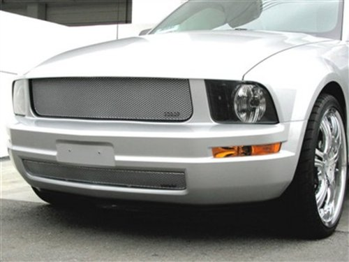 GrillCraft F5020-21S MX Series Silver Upper 1pc & Lower 1pc Mesh Grill Grille Insert for Ford Mustang