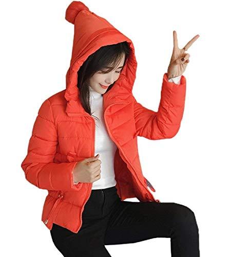 Chaqueta Color Prendas Elegantes Exteriores Mujer Capucha Moda Sólido Largo Orangerot Acolchada Manga Abrigo Invierno Niña Fiesta Acolchado con Abrigos Caliente Cute Casuales Capa zRTTqF4