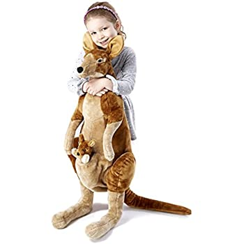 Melissa & Doug Giant Kangaroo and Baby Joey in Pouch - Lifelike Stuffed Animal (nearly 3 feet tall)