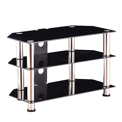 black tempered glass stainless steel pipe tv stand with ebook sri