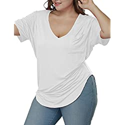 Allegrace Womens Casual Scoop Collar Plus Size T Shirts Summer Tops Tee White XXL