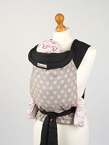 Mei Tai Hip Carrier (Palm and Pond Mei Tai Baby Sling Carrier - Grey with Pink Polka Dots)