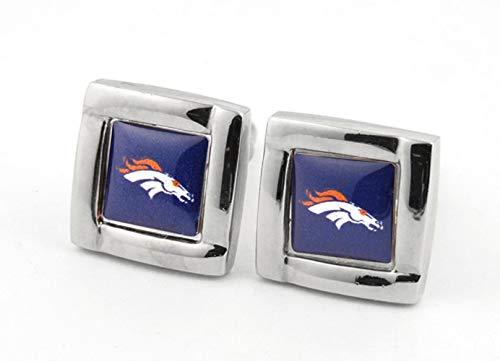 (aminco NFL Denver Broncos Logo Engraved Square Cufflinks, One Size,)