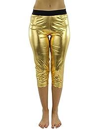 Metallic Foil Capri Style Stretchy Leggings