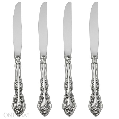 Fine Stainless Flatware Place - Oneida Michelangelo Fine Flatware Set, 18/10 Stainless, Set of 4 Dinner Knives