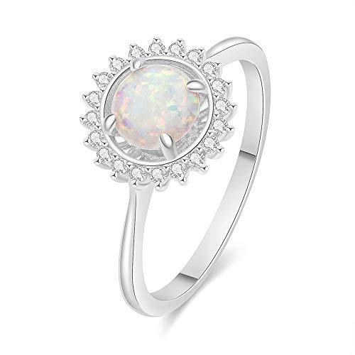 MissDa Opal Ring for Women, Rose White
