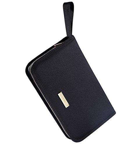 ROWNYEON Portable Lipstick Tester Case Lipstick Stock Case Holder Organization with Carrying Handle Lipstick Makeup Bag ( 26 Slot Golden zipper black )