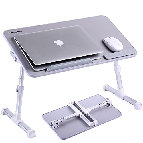 Adjustable Laptop Table, Superjare Portable Standing Desk, Notebook Stand Reading Holder For Couch Floor, Bed Tray Table with Foldable Legs Silver Gray