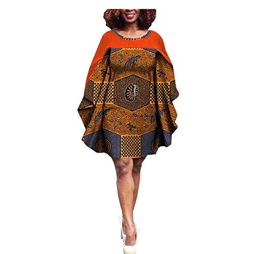 Custom Knee Women Batwing Casual 1j 367 Cotton Private African Print Ankara O Dress 100 AA722585 Made Neck Sleeve Length Batik xqFnCt