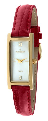 Peugeot Women's 14K Gold Plated Mother of Pearl Roman Numeral Face Glossy Red Leather Thin Skinny Strap Dress Watch -