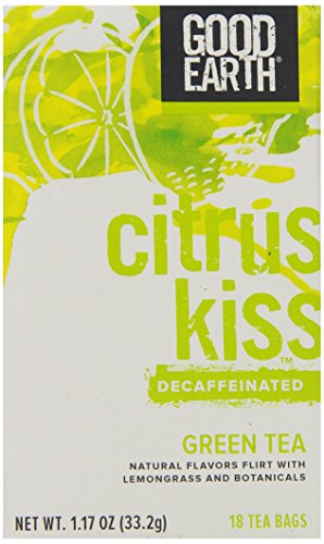 Good Earth Citrus Kiss Decaffeinated Green Tea, 18 Count Tea Bags (Pack of 6) - Good Earth Grocery