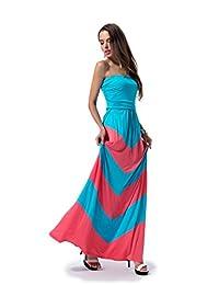 Charm Your Prince Women's ZigZag Chevron Maxi Dress