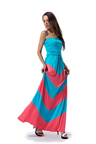CYP Women's Sleeveless Summer Chevron Empire Maxi Dress Turquoise and Coral Small