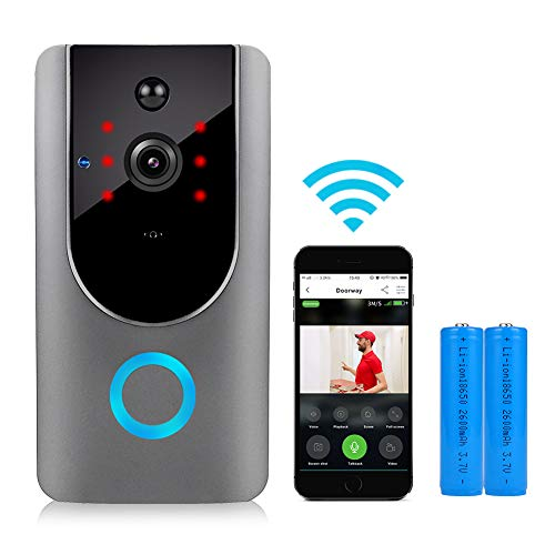(Video Doorbell, WiFi Smart Doorbell with Security Camera 720 HD & PIR Motion Detection for Home, Compatible with Smartphone iOS Android, Silver)