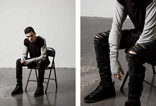 Modo color Classiche Black Pantaloni Nero Ragazzi Distrutto Jeans 27 Ripped Skinny Epoca Pesante Stretch Uomo Size Dei Di Svago Z7wqxC4zw