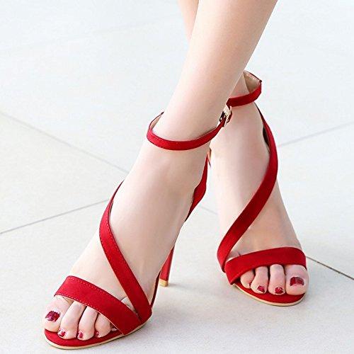 COOLCEPT Mujer Punta Abierta Al Tobillo Sandalias Elegant Solid Tacon Alto Tacon De Aguja Zapatos Rojo