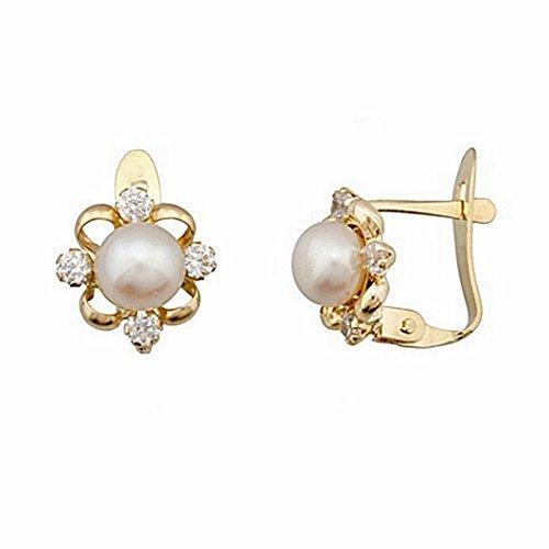 Boucled'oreille 18k or 5.5mm perle de culture. 4 zircons 2mm. [6703P]