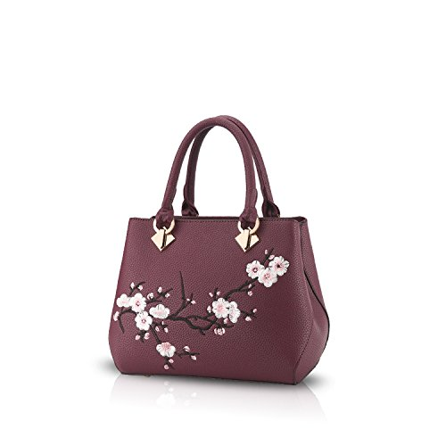 Nicole&Doris Casual Sweet Handbag Women Crossbody Shoulder Bag Purse Tote Commuter PU Leather Black Purple