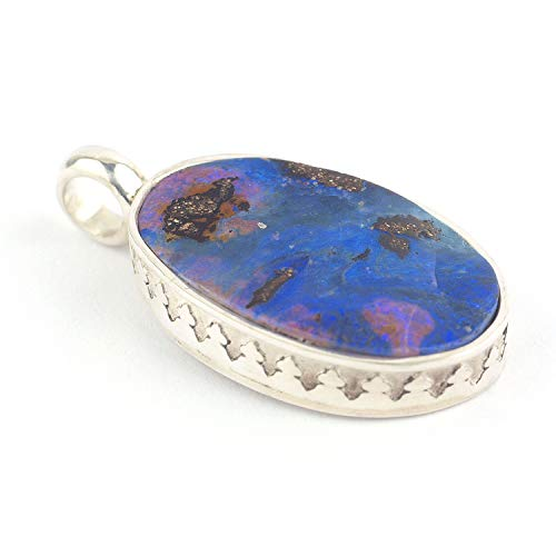 Australian Boulder Opal pendant in solid sterling silver oval-shaped and blue-purple color size 0.75x0.51x0.16