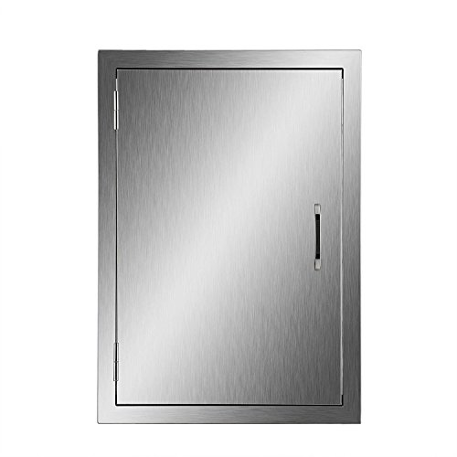 Happybuy BBQ Access Door Double Wall Construction 17W x 24H In. BBQ Island/Outdoor Kitchen Access Doors 304 Grade Brushed Stainless Steel Heavy Duty 2 Door Outdoor Cabinet