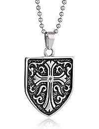 Stainless Steel 0.05Ct Black Diamond Celtic Cross Shield Men's Pendant Necklace, 23.0''
