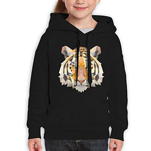 YuncaiA Geometric Tiger Face Youth Hooded Sweater Cotton (Tiger Cotton Sweater)