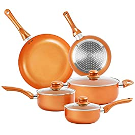 Furnikko Nonstick Pots and Pans Set, 8 Pcs Cookware Set, Non-stick Frying Pan Ceramic Coating Stockpot, Cooking Pot, Gas…