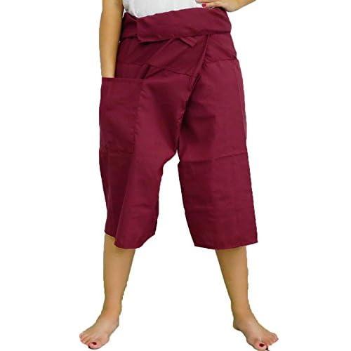 78e84013bf0 Dark Red Toray - 3/4 Men Women Thai Fisherman Pants Yoga Trousers by ...