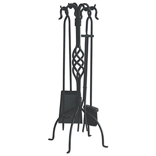 Uniflame 5 Piece Black Wrought Iron Fireset with Center Weave by Blue Rhino Global Sourcing Inc