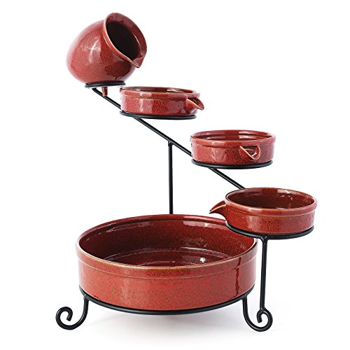 Outdoor Fountain Falling Water (ORKAN Colorfast Ceramic Solar Water Fountain ZEN Garden Fountain Outdoors Decor Marroon Red)